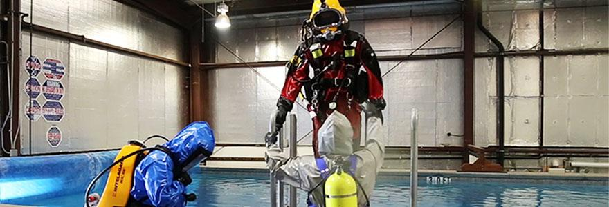 Diver exiting water after contaminated dive